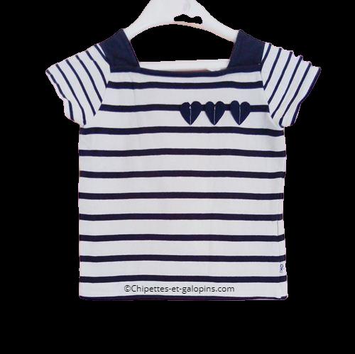 vetements occasion enfants. Vetements fille pas chers. T-shirt marinière Okaïdi pour fille 4 ans
