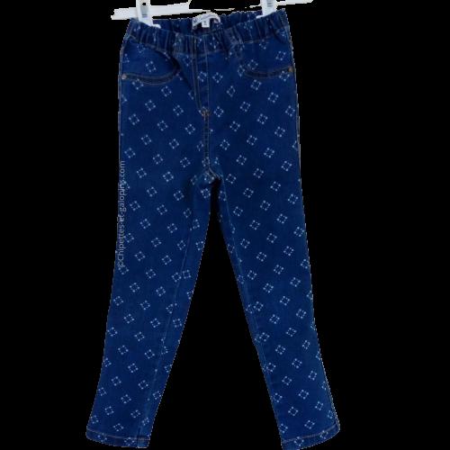 vetement occasion enfant. Vetements enfants pas chers. Jegging en jean bleu avec motife géométriques fille 6 ans à petit prix