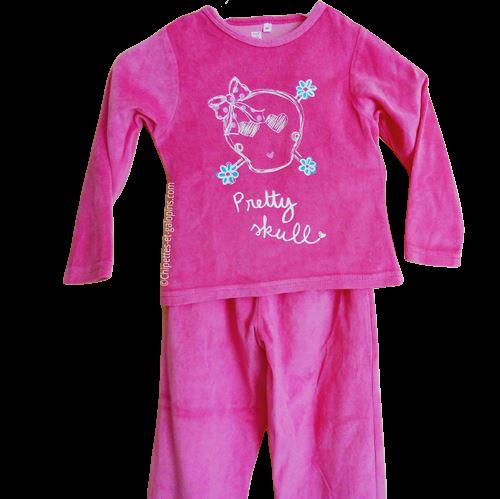 vetement occasion enfant. Vetements enfants pas chers.Pyjama 2 pièces en velours de couleur rose fille 5 ans à petit prix