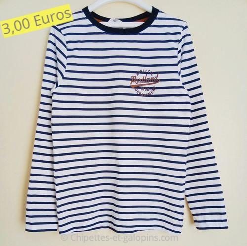 Vêtements d'occasion pour enfants. T-shirt manches longues rayé 8/10 ans H&M