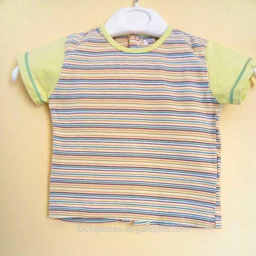 vetement enfants occasion.Vetement bébé pas cher. T-shirt à manches courtes rayé Sucre d'orge bébé garçon 1 mois