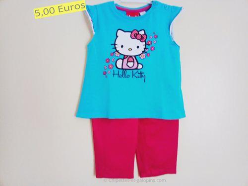 vêtements bébé d'occasion. Ensemble pantalon toile et T-shirt Hello Kitty 12 mois