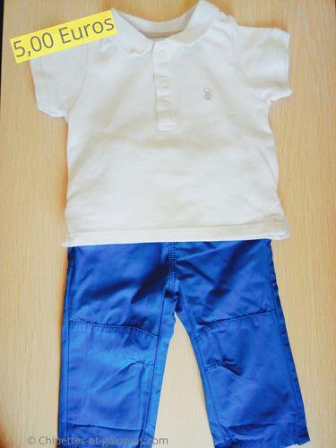 Vetements bébé occasion. Pantalon et polo Obaïbi 3 mois