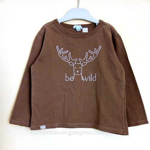 vetements occasion enfants. T-shirt à manches longues pas cher Obaïbi 4 ans de couleur marron avec motif cerf