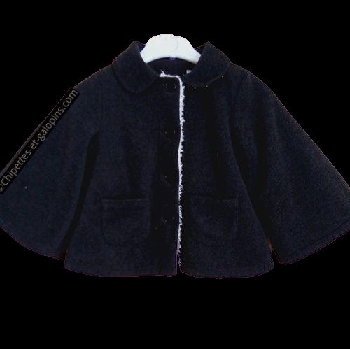 vetements enfant occasion. Vetement fille pas chers. Manteau polaire doublé peluche en forme de cape gris foncé pour fille 4 ans