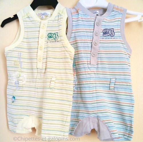 vetements occasion bébé. Vêtements d'occasion pour bébé. Vetements bébé garçon pas chers. Lot de 2 combi-shorts sans manches rayé jaune et bleu