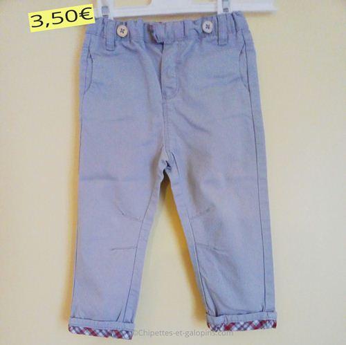 Vêtements bébé occasion. Pantalon en toile Obaïbi 18 mois pas cher