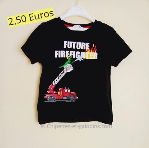 noir impression 46 courtes T manches pompier ans shirt OXuTkPZi