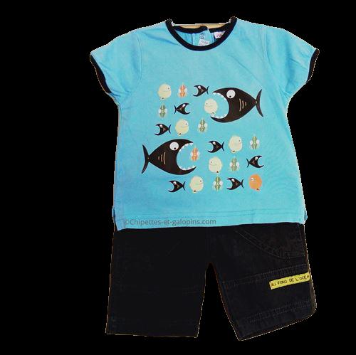 vetements occasion bébé. Vetements bébé garçon pas chers. Ensemble short et T-shirt Pommette pour bébé garçon 6 mois à tout petit prix
