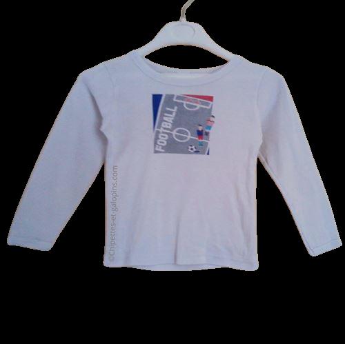 vetement occasion enfant. Vetements enfants pas chers. T-shirt à manches longues en maille côtelée impression football Absorba pour garçon 3 ans à prix riquiqui
