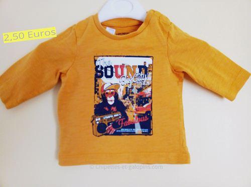 vêtements bébé d'occasion. T-shirt manches longues Orchestra bébé garçon 3 mois