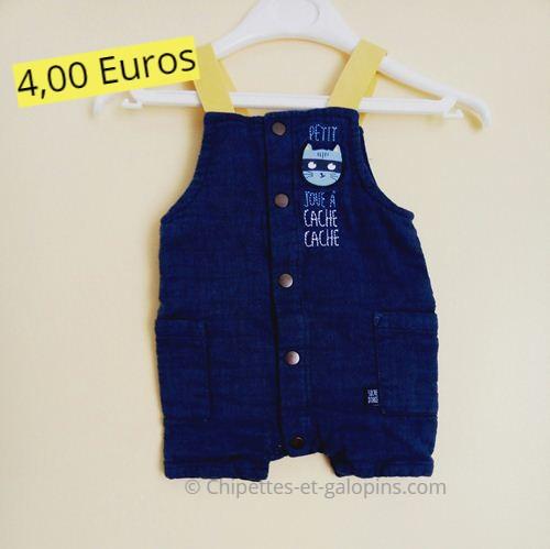 vêtements bébé d'occasion. salopette courte Sucre d'orge 3 mois pas cher