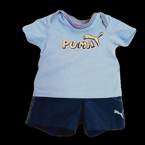 vetements occasion bébé. Vetements bébé garçon pas chers. Ensemble short et T-shirt Puma bleu ciel et bleu marine à petit prix pour garçon 3 ans