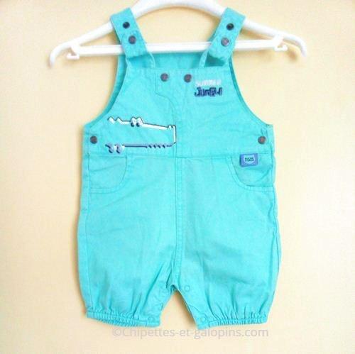vetement bébé occasion. Vêtements bébé d'occasion. Vetements bébé pas chers. Salopette-short Sucre d'orge de couleur bleue pour bébé garçon 3 mois