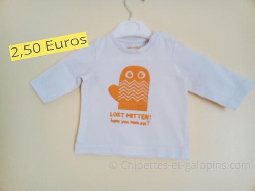 """Vêtements bébé d'occasion. T-shirt à manche longues """"mitaine"""" Orchestra garçon 3 mois"""