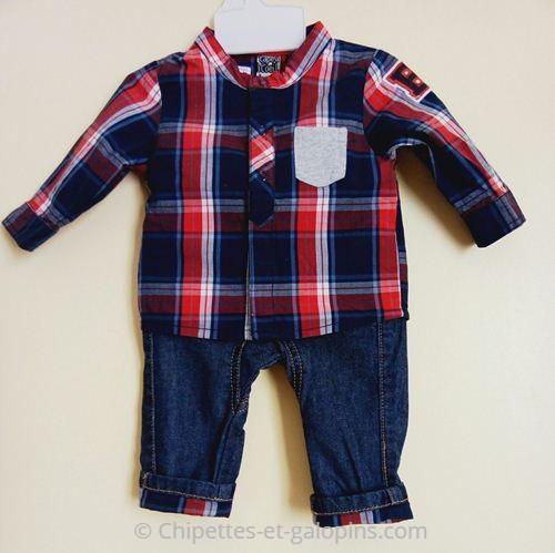 vetements bébé occasion. Ensemble jean et chemise Tape à l'Oeil pas cher pour bébé garçon de 3 mois