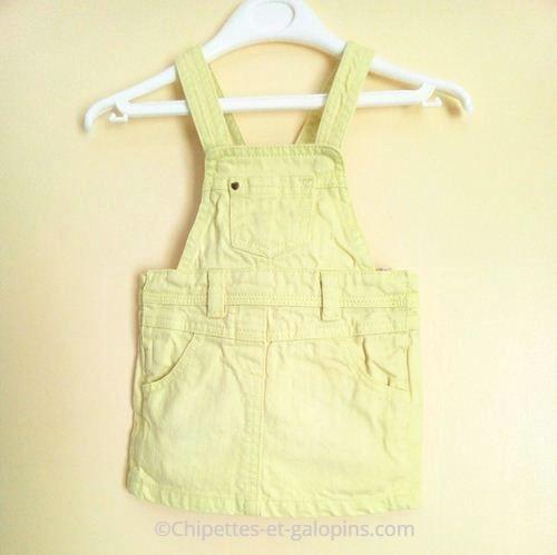vetement bébé d'occasion. Vêtements bébé fille pas cher. Robe-salopette jaune pour bébé fille 12 mois Tape à l'œil