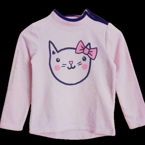 vetement enfant occasion. vetements enfant pas chers. Sweat-shirt polaire 7 ans à petit prix rose motif chat La Halle