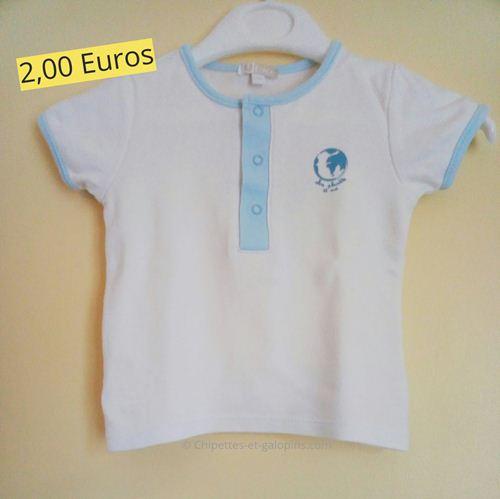 vetement d'occasion pour bébé. T-shirt à manches courtes en coton bio 3 mois