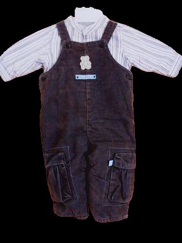vetements occasion enfants. vetements pas cher bébé garçon 9 mois. Ensemble salopette et chemise Sergent Major pas cher bébé garçon 9 mois