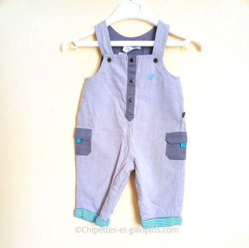 vetements occasion bébé. Salopette en toile grise Obaïbi pas chère pour bébé garçon 3 mois