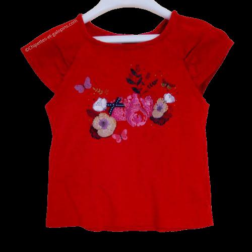 vetement occasion enfant. Vetements enfants pas chers. T-shirt à manches courtes rouge Orchestra avec impressions fleurs pour fille de 5 ans à tout petit prix