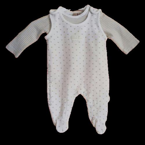 vetements bébé pas chers. Vetements occasion bébé fille. Vetements occasion bébé garçon. Ensemble salopette blanche et T-shirt ml Rayé beige 3 mois
