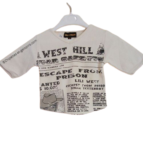 vetements enfant occasion. Vêtements enfant pas chers. T-shirt manches longues fille 3 ans far west