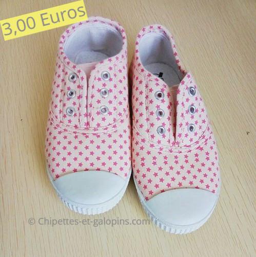 chaussures enfants d'occasion. Baskets en toile sans lacet fille T29
