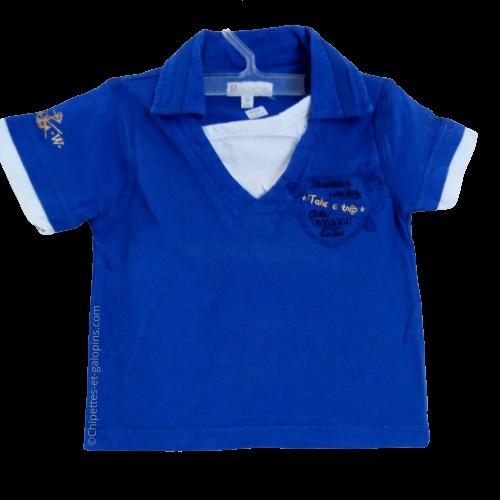 vetements occasion bébé. Vetements bébé garçon pas chers. T-shirt col polo à manches courtes de couleur bleu roy à tout petit prix pour bébé garçon de 18 mois