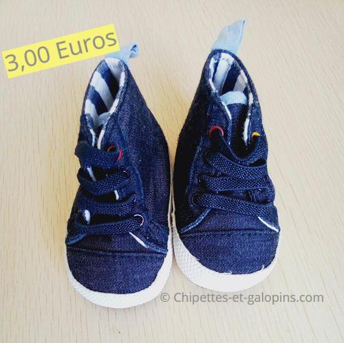 chaussures d'occasion pour enfants. Baskets en toile denim Obaïbi