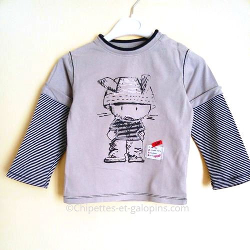 vetement enfant occasion. T-shirt à manches longues gris La compagnie des petits pas cher pour garçon de 4 ans
