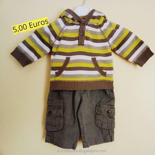 Vêtements d'occasion pour bébé. Ensemble pantalon et pull pas cher Vert Baudet 3 mois