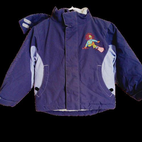 vetement occasion enfant. Vetements enfants pas chers. Blouson de ski Longboard fille 4 ans de couleur violet doublé polaire.