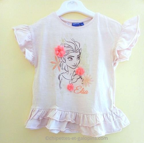 """vetements occasion enfants. Vêtements enfants pas chers. T-shirt à volants """"Reine des neiges"""" pas cher pour fille 8 ans de couleur rose clair"""