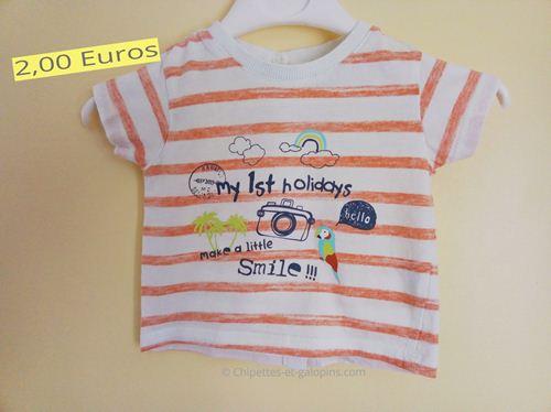 vetements bébé d'occasion. T-shirt rayé Kiabi 3 mois pas cher