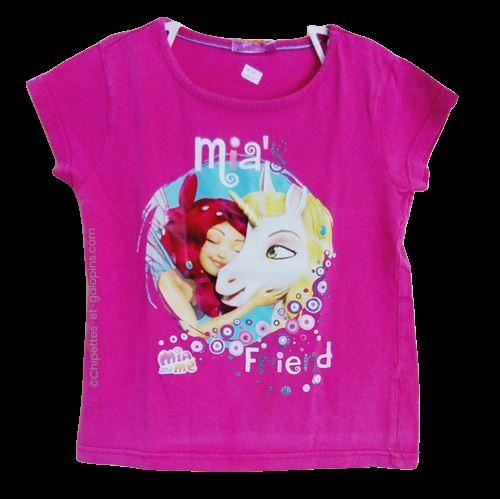 vetement occasion enfant. Vetements enfants pas chers. T-shirt rose fushia avec manches courtes et impression Mia&me sur le devant pour fille 6 ans à tout petit prix