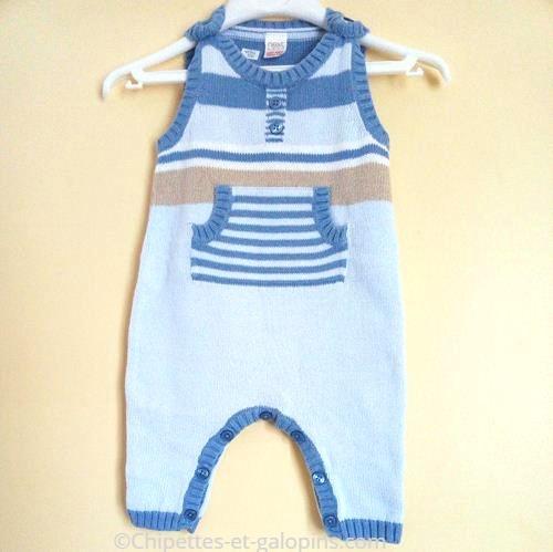 vetements bébé occasion. vetements bébé pas chers. Combinaison pantalon sans manches pas chère en fine maille bébé garçon 3 mois bleu ciel