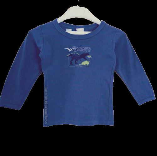 vetement occasion enfant. Vetements enfants pas chers.T-shirt manches longues bleu en maille côtelée Absorba pour garçon 3 ans à tout petit prix