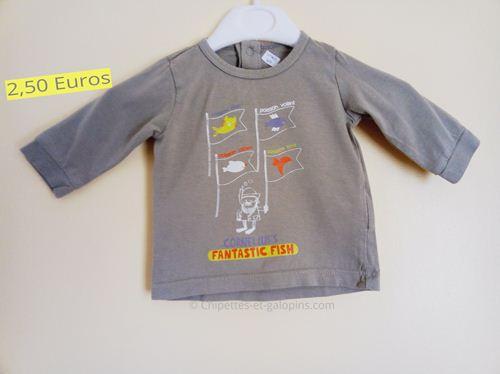 Vêtements bébé d'occasion. T-shirt à manches longues Vert Baudet kaki 3 mois