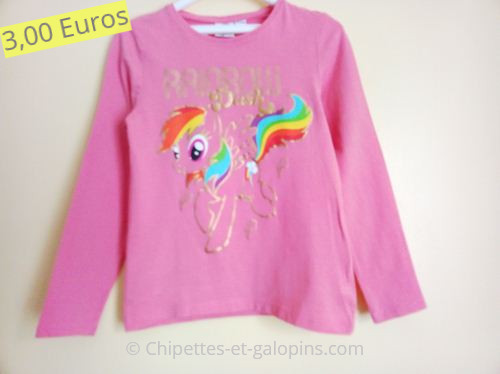 vêtements fille d'occasion. T-shirt à manches longues Little poney fille 8 ans