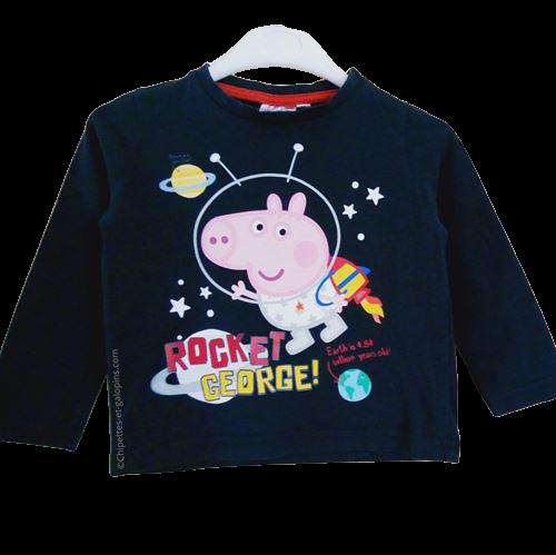 vetement occasion enfant. Vetements enfants pas chers. T-shirt manches longues bleu marine Peppa Pig pour bébé garçon de 3 ans à tout petit prix