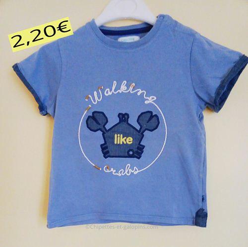 vetements enfants d'occasion. T-shirt bleu Obaïbi garçon 3 ans à petit prix