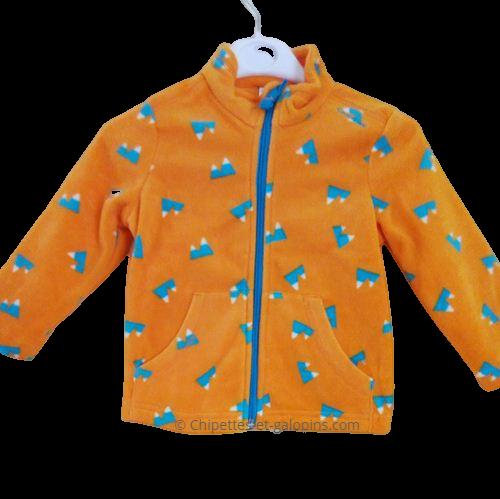 vetements occasion enfant. vetements enfant pas chers. Veste polaire Quetchua 2 ans de couleur orange à petit prix