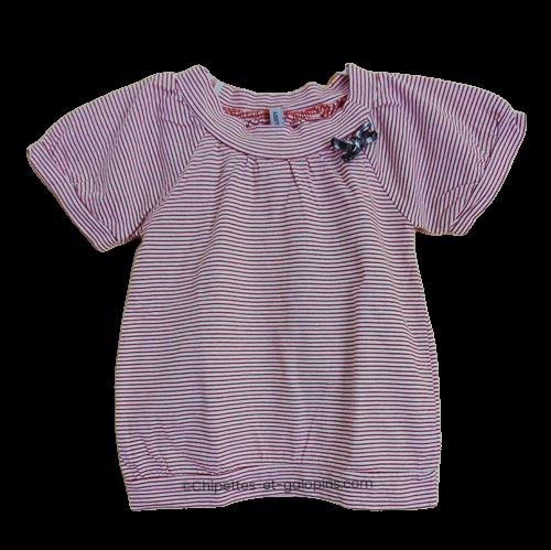vetement occasion enfant. Vetements enfants pas chers. T-shirt forme boule avec manches ballon. Fines rayures rouges sur fond blanc. Fille 5 ans . petit prix