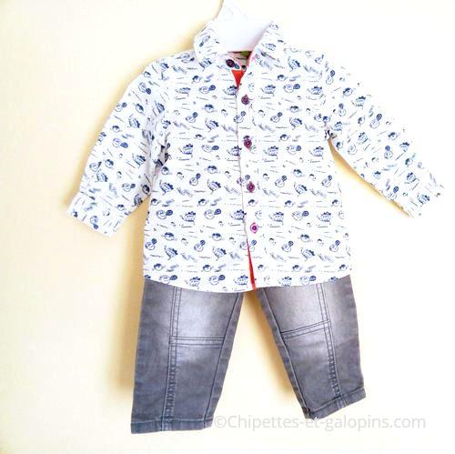 vetements bébé occasion. Ensemble pas cher jean et chemise Orchestra pour bébé garçon 6 mois