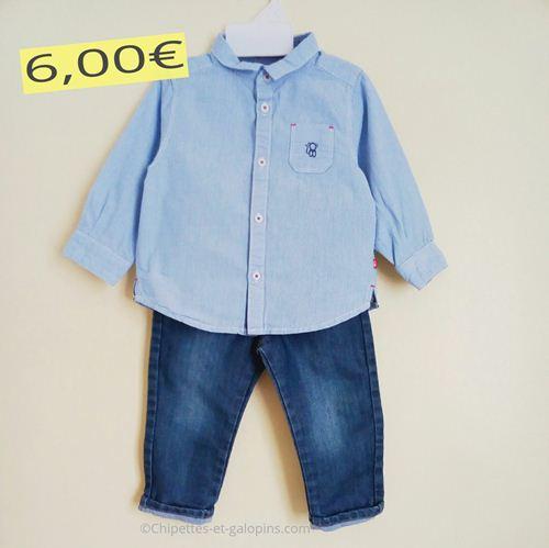 vetements bébé d'occasion. Ensemble jean et chemise Obaïbi 18 mois de couleur bleue