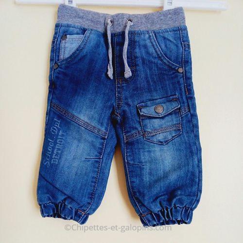 vetements bébé occasion. jean bébé pas cher. jean bleu taille elastique 6 mois