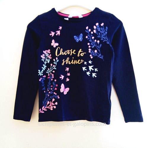 vetements enfants occasion. T-shirt à manches longues pas cher. T-shirt H&M papillons fille 6/8 ans