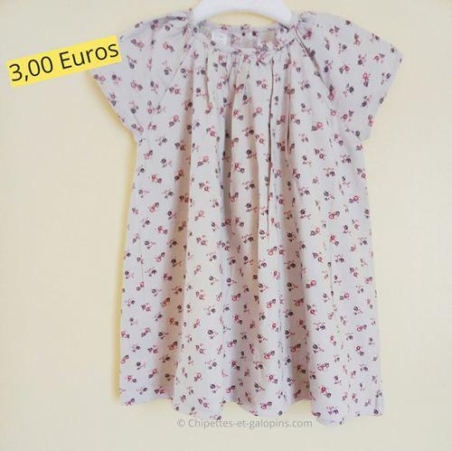 Vêtements d'occasion pour bébé fille. Robe doublée Petit Bateau 18 mois pas chère